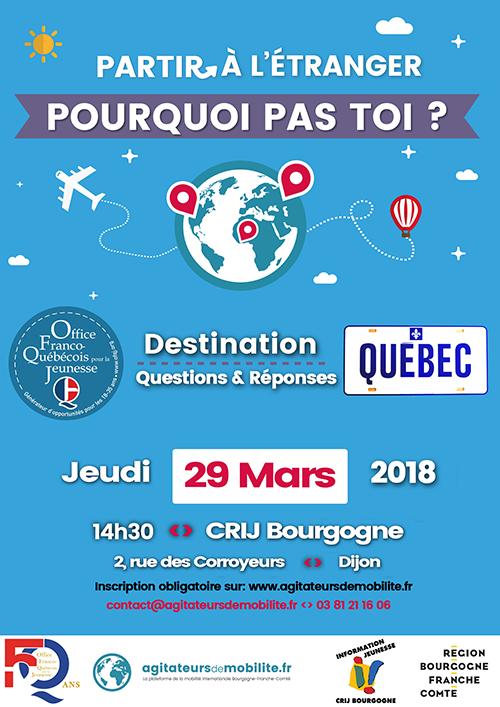 Affiche Journée d'info Québec au CRIJ Bourgogne à Dijon le 29 mars 2018